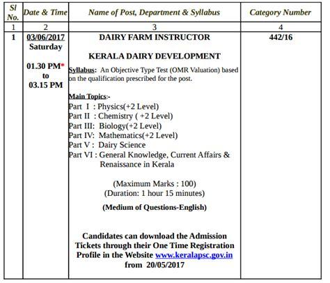 Kerala Mba Syllabus 2016 by Kerala Psc Examination Calendar June 2017 District Wide