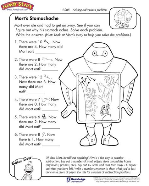 printable activity sheets for elementary students quot mort s stomach ache quot 3rd grade subtraction problems and