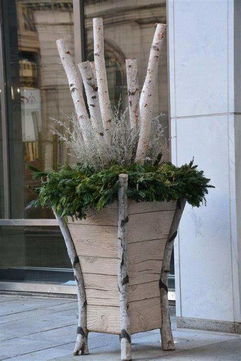 Planters With Birch Branches winter urn large scale contemporary birch faux bois concrete planter birch poles white