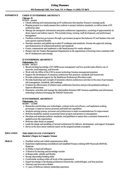 Enterprise Architect Resume by It Enterprise Architect Resume Sles Velvet