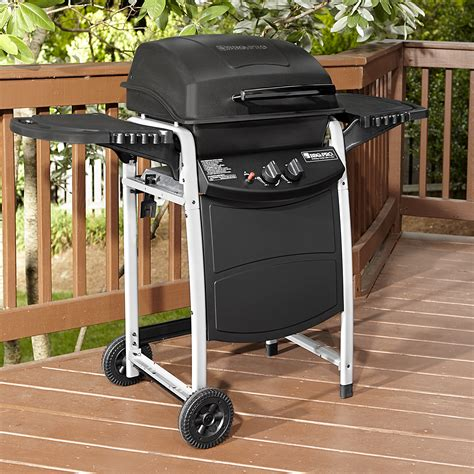 bbq pro 2 burner lp gas grill with large side shelves