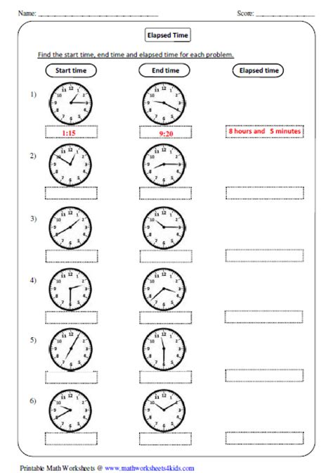 Simple Elapsed Time Worksheets elapsed time worksheets