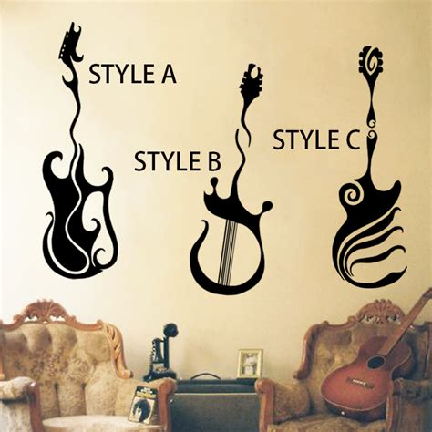 house music fashion art design home decoration vinyl musical equipment guitar wall sticker removable house