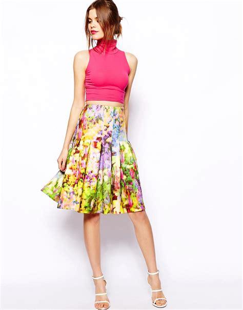 asos asos midi skirt in floral printed scuba at asos