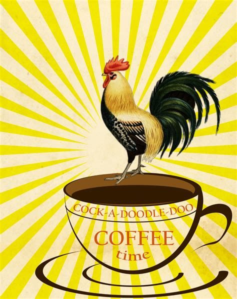 coffee cup rooster sunburst  stock photo public