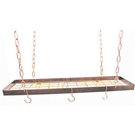 Copper Hanging Pan Rack Pot Racks 35 Rectangular Hanging Pot Rack With Grid In