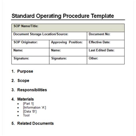 finance sop template sop template