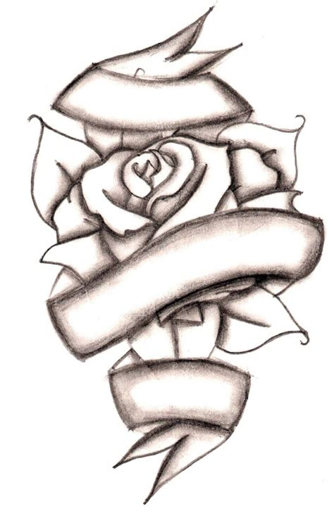 rose with ribbon tattoo designs free printable and cross coloring pages