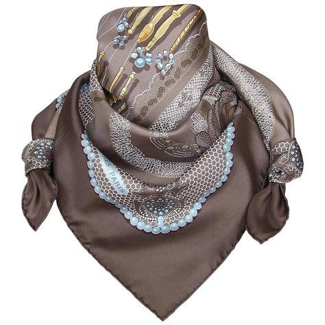 hermes silk scarf doigts de fee etoupe blue 90 cm