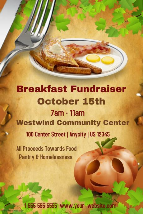Breakfast Fundraiser Template Postermywall Breakfast Flyer Template
