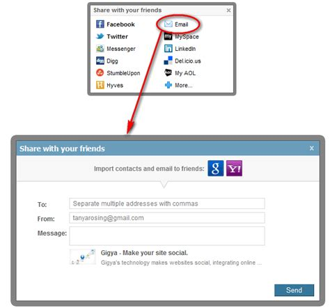 share email sharing via email gigya documentation developers guide