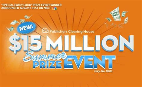 Publishers Clearing House Superprize - pch nbc 15 000 000 summer prize event superprize 8800 sweepstakes pit