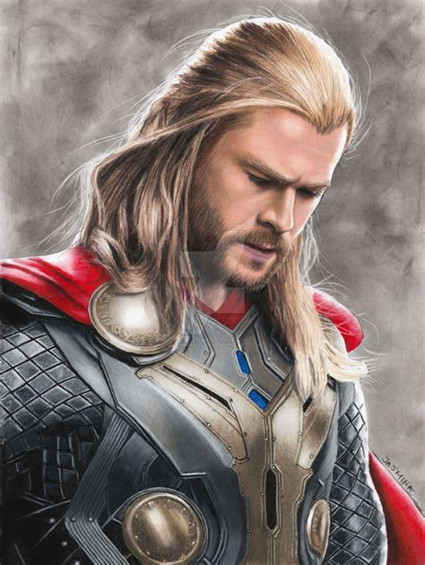 realistic portrait done by chris colored pencil drawing chris hemsworth as thor by