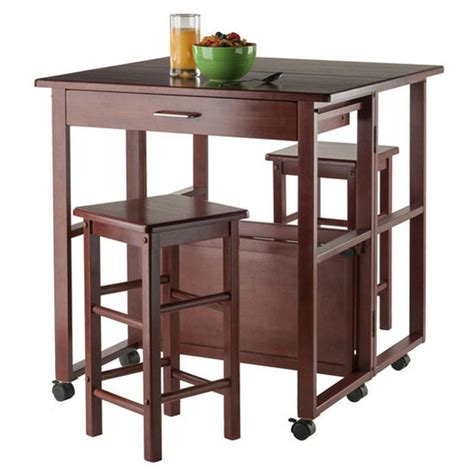 Walnut Space Saving Dining Table Ws 94331 Fremont Collection 3 Space Saver Dining Set Table And 2 Stools In Walnut Finish