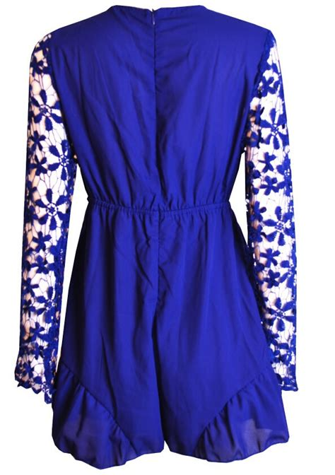 Enfocus Blue Flowers Vneck Dress Original v neck chiffon flower lace jumpsuit az901bd 183 megafashion