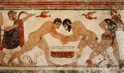 vasi funerari egizi tomba di tarquinia quot lottatori quot