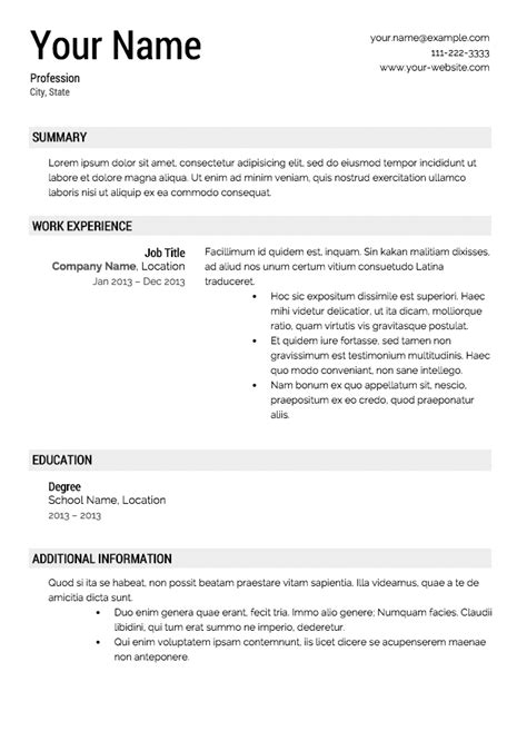 Template For Resume by Free Resume Templates