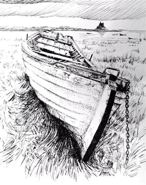 broken boat drawing boats and harbours 2 pen and ink glyn overton pencil