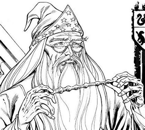 harry potter coloring pages dumbledore black and white cartoons hogwards pictures to pin on