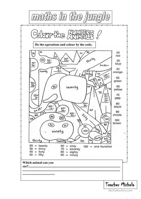 maths in the jungle worksheet free esl printable