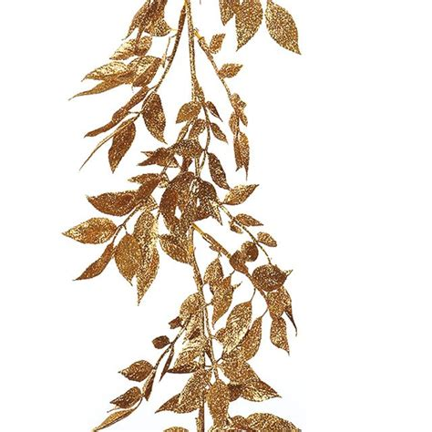 Silver Leaf Decoration by Artificial Glitter Leaf Garland Gold Silver Luxury