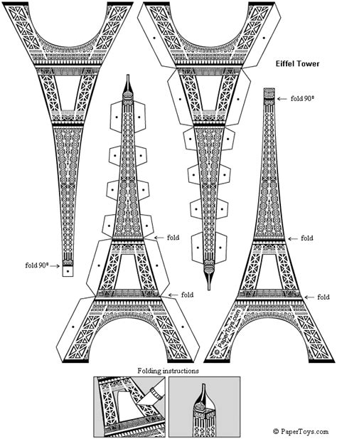 eiffel tower paper cutouts by papertoys com