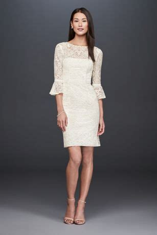 short illusion lace dress   bell sleeves davids