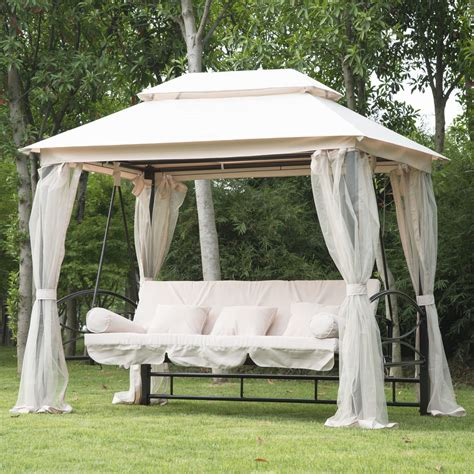 outdoor patio 3 person gazebo swing daybed bench hammock