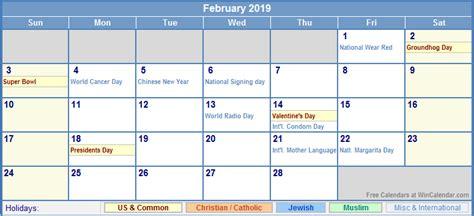 Calendar 2019 February February 2019 Calendar With Holidays As Picture