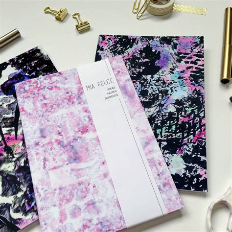 a5 patterned notebook set of three a5 patterned notebooks by mia felce