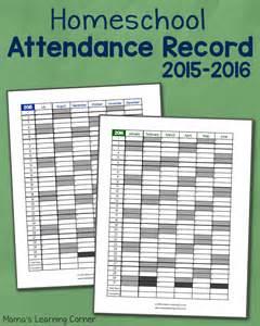 Homeschool attendance record 2015 2016 free printable mamas