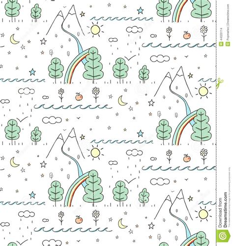 seamless nature pattern free seamless nature landscape line drawing stock vector