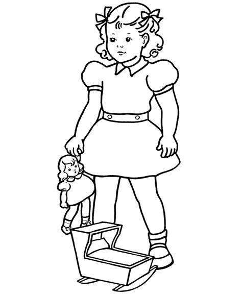 bluebonkers girl coloring pages girl with baby doll