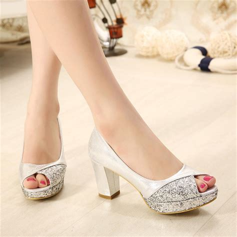Comfortable Gold Heels by Glitter Sequins Gold Heels Silver Wedding Shoes
