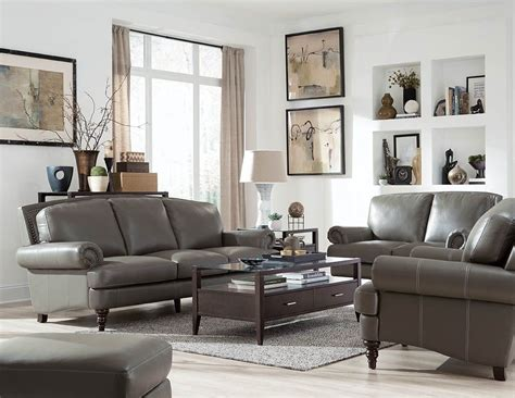 Juliette Battleship Grey Leather Living Room Set Wh 1615 Grey Living Room Set