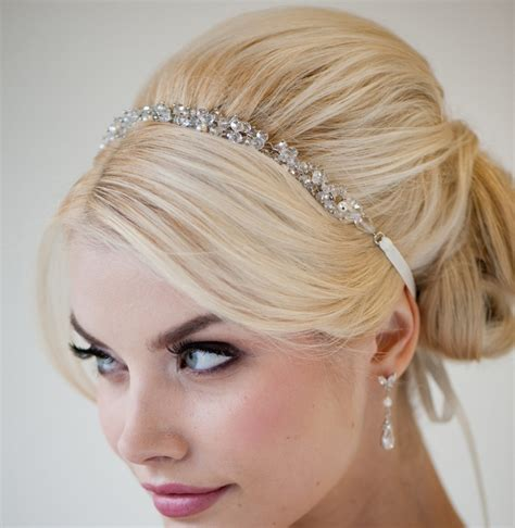 bridal ribbon headband bridal hair accessory beaded