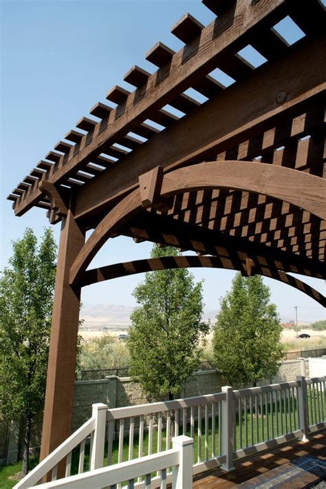 Pergola Cantilever Roof Extends Shade Beyond Backyard Deck Pre Cut Pergola Kits