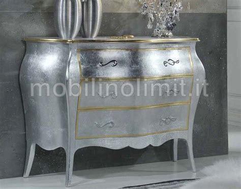 como mobili 242 3 cassetti foglia argento e oro