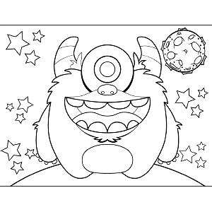 space monster coloring page single eyed space monster coloring page