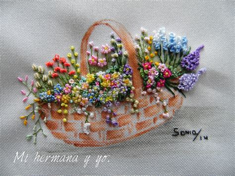 Embroidery Handmade - handmade embroidery with silk and ribbom a paint of