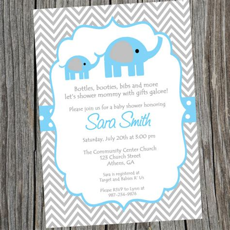 Elephant Baby Boy Shower Invitations by Elephant Invitation Baby Shower Invite Blue Elephant