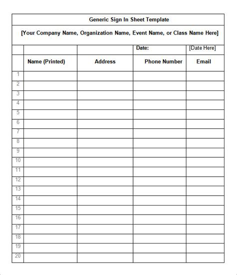 sign in sheet templates 78 free word excel pdf