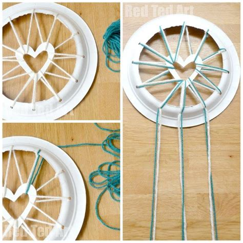 How To Make A Paper Dreamcatcher - paper plate crafts catchers with hearts ted