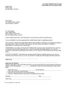 Landlord Eviction Notice Tennessee Tennessee 3 Day Notice To Vacate For Dangerous Behavior