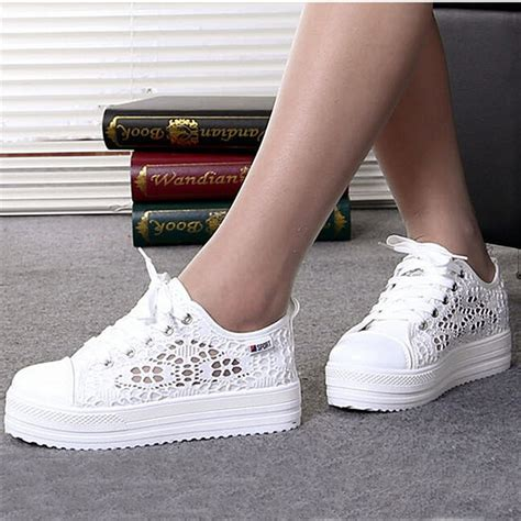Flatshoes Flatform Sneakers 19 summer shoes casual cutouts lace canvas shoes hollow floral breathable platform flat shoe