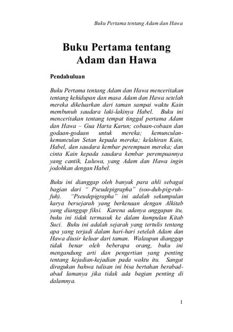 Buku Berkat Dan Kutuk 1 buku pertama tentang adam dan hawa