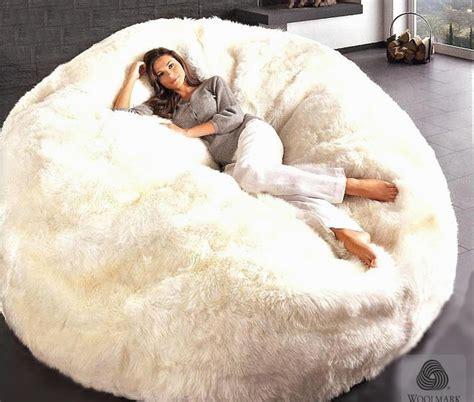 big white fluffy bean bag sheepskin bean bag chair large jumbo filled