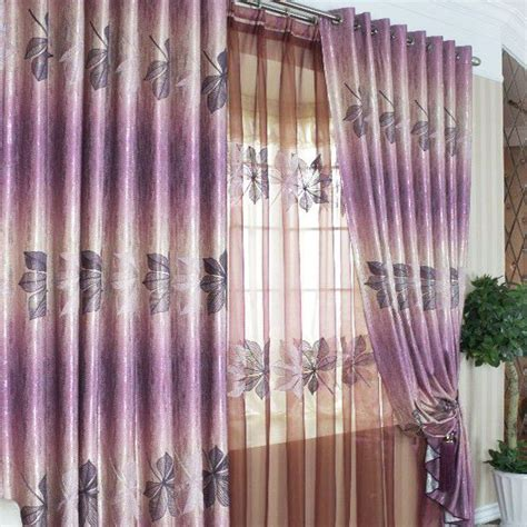 Lilac Blackout Curtains Lilac Blackout Curtains Unique Style Leaf Jacquard Printing Purple Curtains For Blackout Two