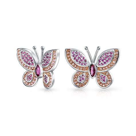 Butterfly Earring cz pave butterfly stud earrings rhodium plated