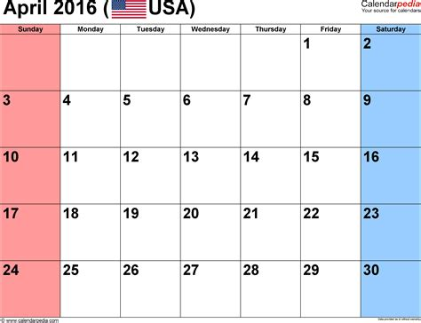 April 2016 Calendar Printable April 2016 Calendars For Word Excel Pdf